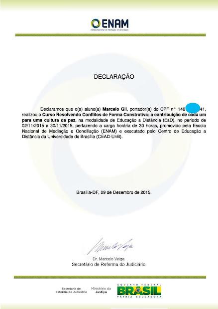 DECLARAÇÃO DA ESCOLA NACIONAL DE MEDIAÇÃO, DO MINISTÉIRO DA JUSTIÇA, CONCEDIDO À MARCELO GIL: 2015