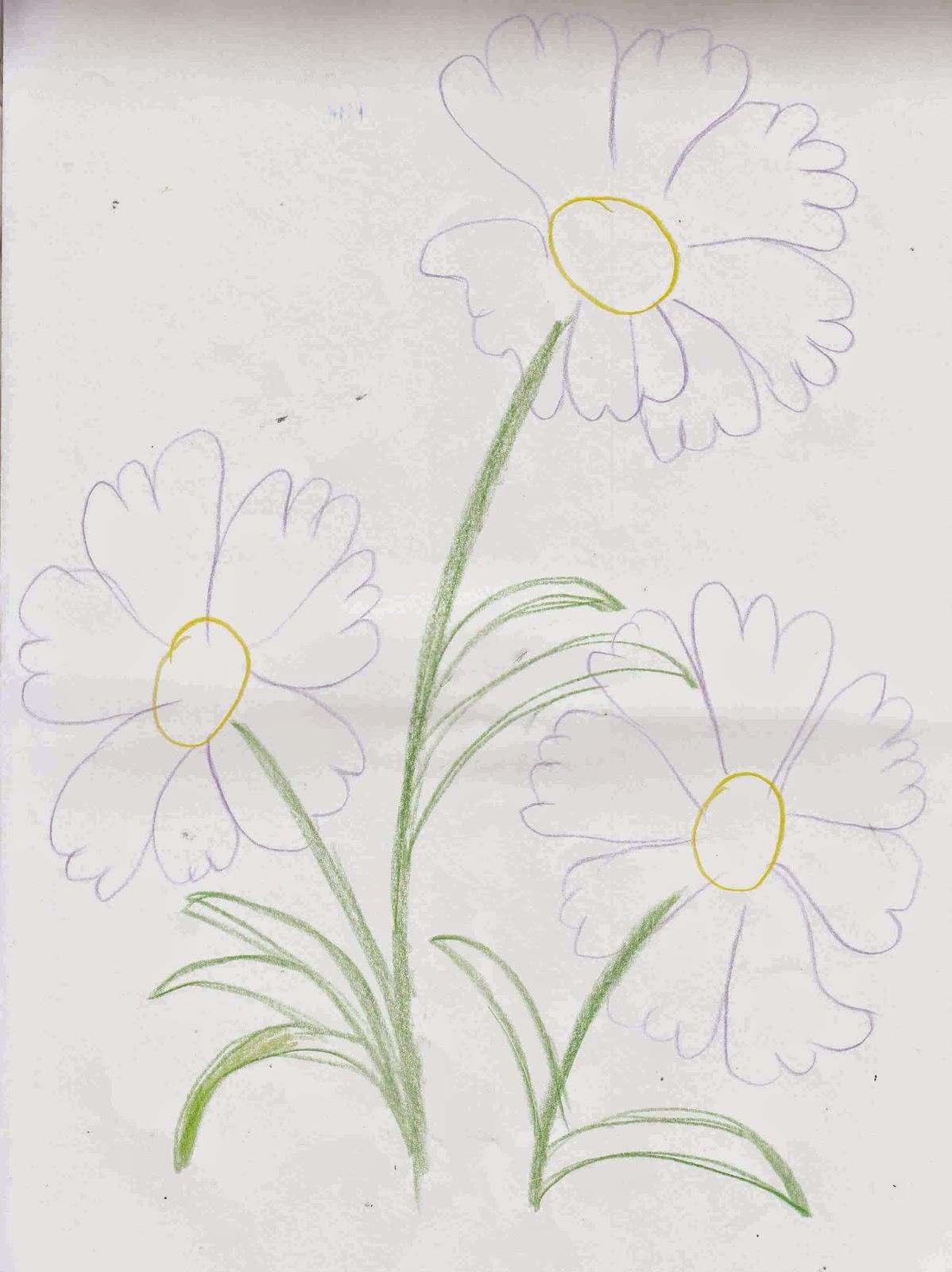 140 Sketsa Gambar Bunga Untuk Sulam Gudangsket