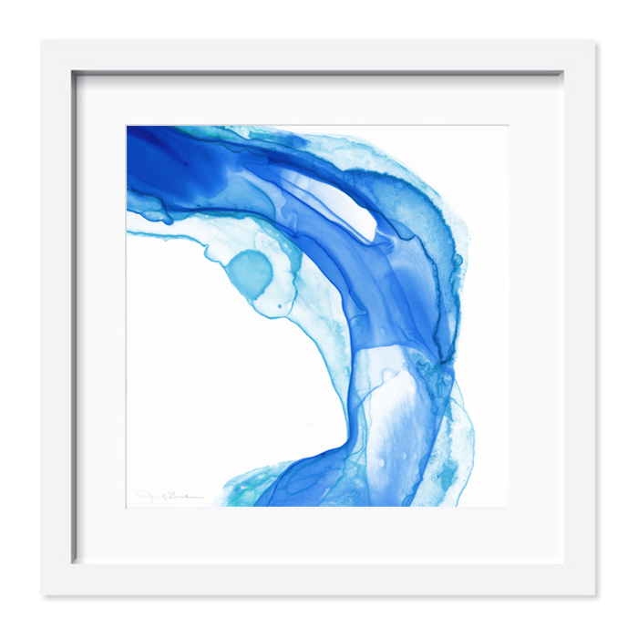 Indigo, cobalt, aqua, teal and turquoise comprise this abstract piece that comes matted and framed.  Available at shop.thepinkpagoda.us