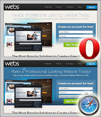 Screen shots of webs.com as seen in Opera and Safari.