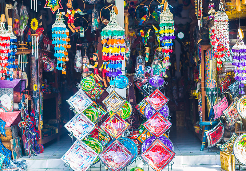 Colorful shop at Legian shopping street, Bali