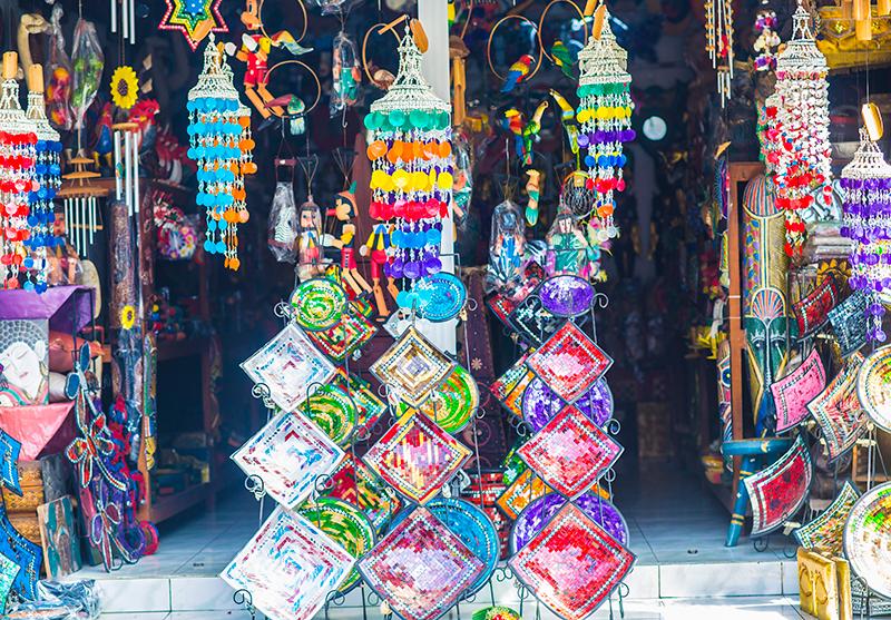 Colorful shop at Legian shopping street, Bali
