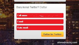 """Setelah itu klik """"Daftar ke Twitter"""" atau bisa tekan """"Enter ..."""