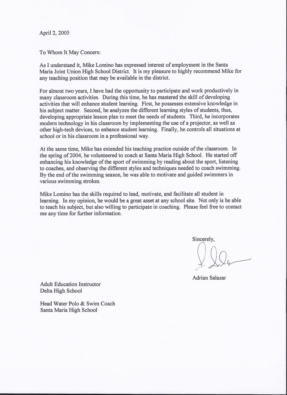Mr Lomino Letter Of Recommendation Santa Maria High School Swim Team