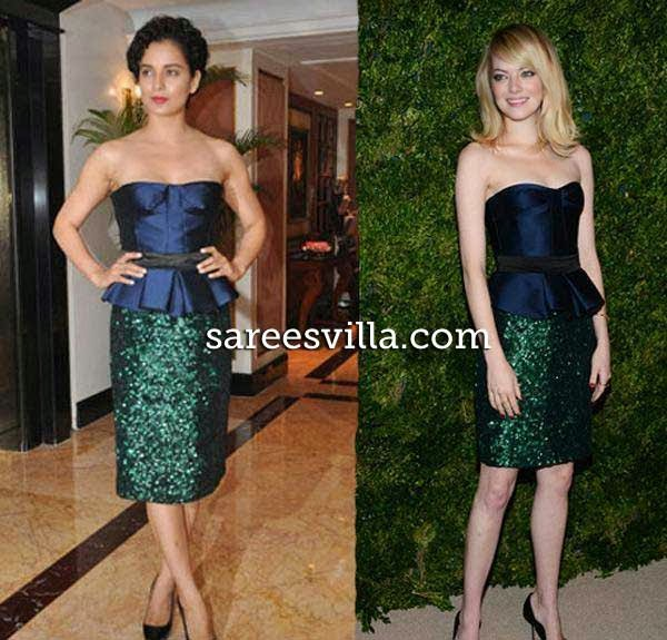 Kangana Ranaut and Emma Stone in similar outfit