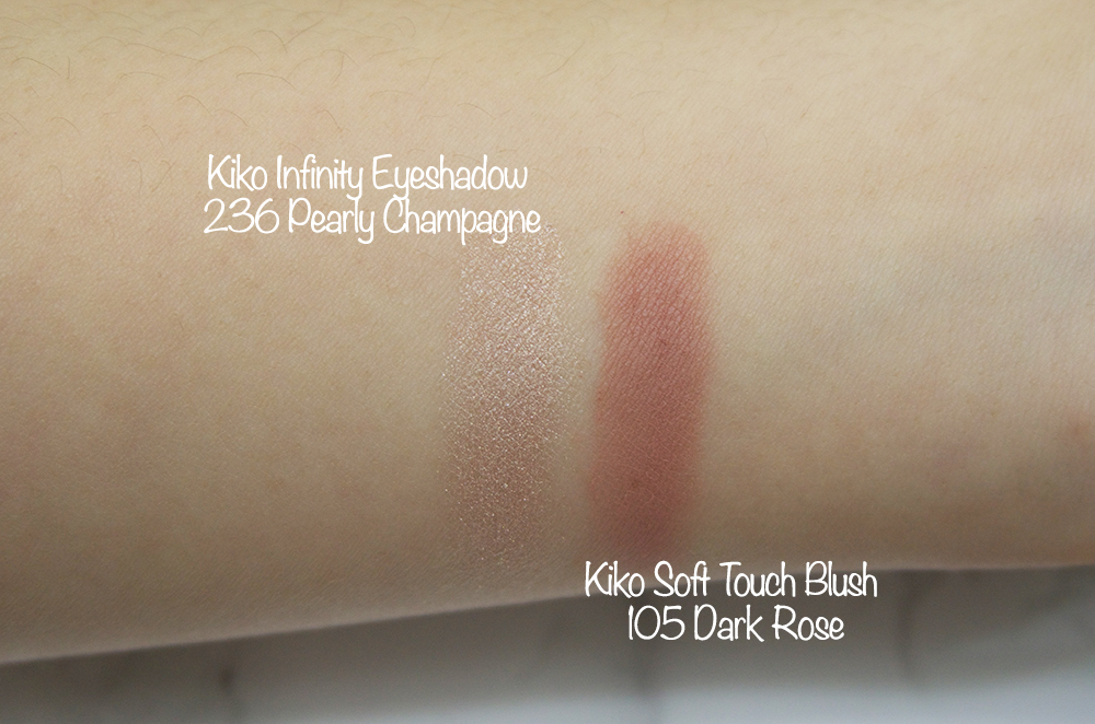 Kiko Infinity Eyeshadow 236 Pearly Champagne Swatch,Kiko Soft Touch Blush 105 Dark Rose Swatch
