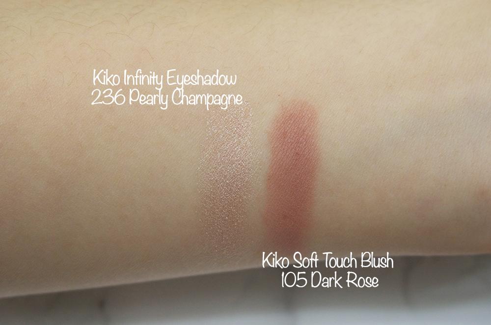 Kiko Infinity Eyeshadow 236 Pearly Champagne Swatch,Kiko Soft Touch Blush 105 Dark Rose Swatch