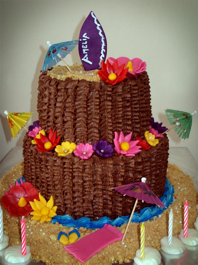 Delana S Cakes Hawaiian Themed Chocolate Cake