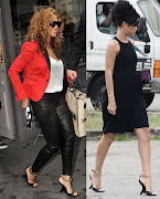 Above, Beyonce teamed hers with black skinny jeans and a todiefor red .