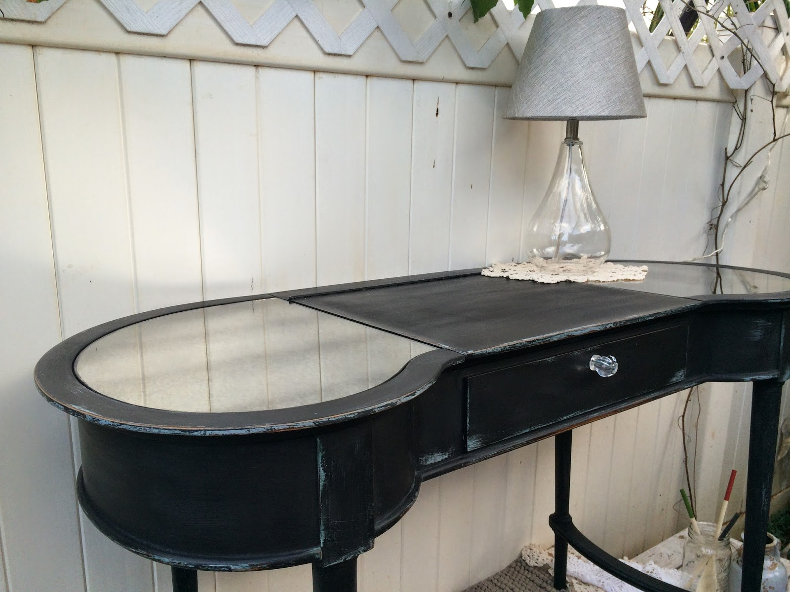 painting a vintage vanity black chalk paint spilled milk before and after