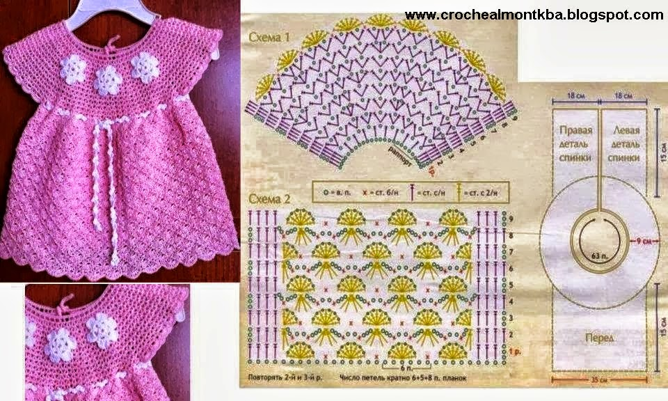 vestido tejido al crochet de niña con patron