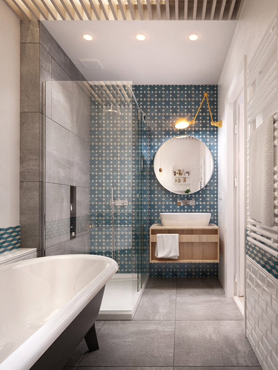 Good Round bathroom mirror Image via INT Architecture