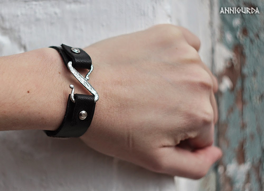 браслет, кожа, кожаный браслет, черный, металл, рок, байкер, неформальный стиль