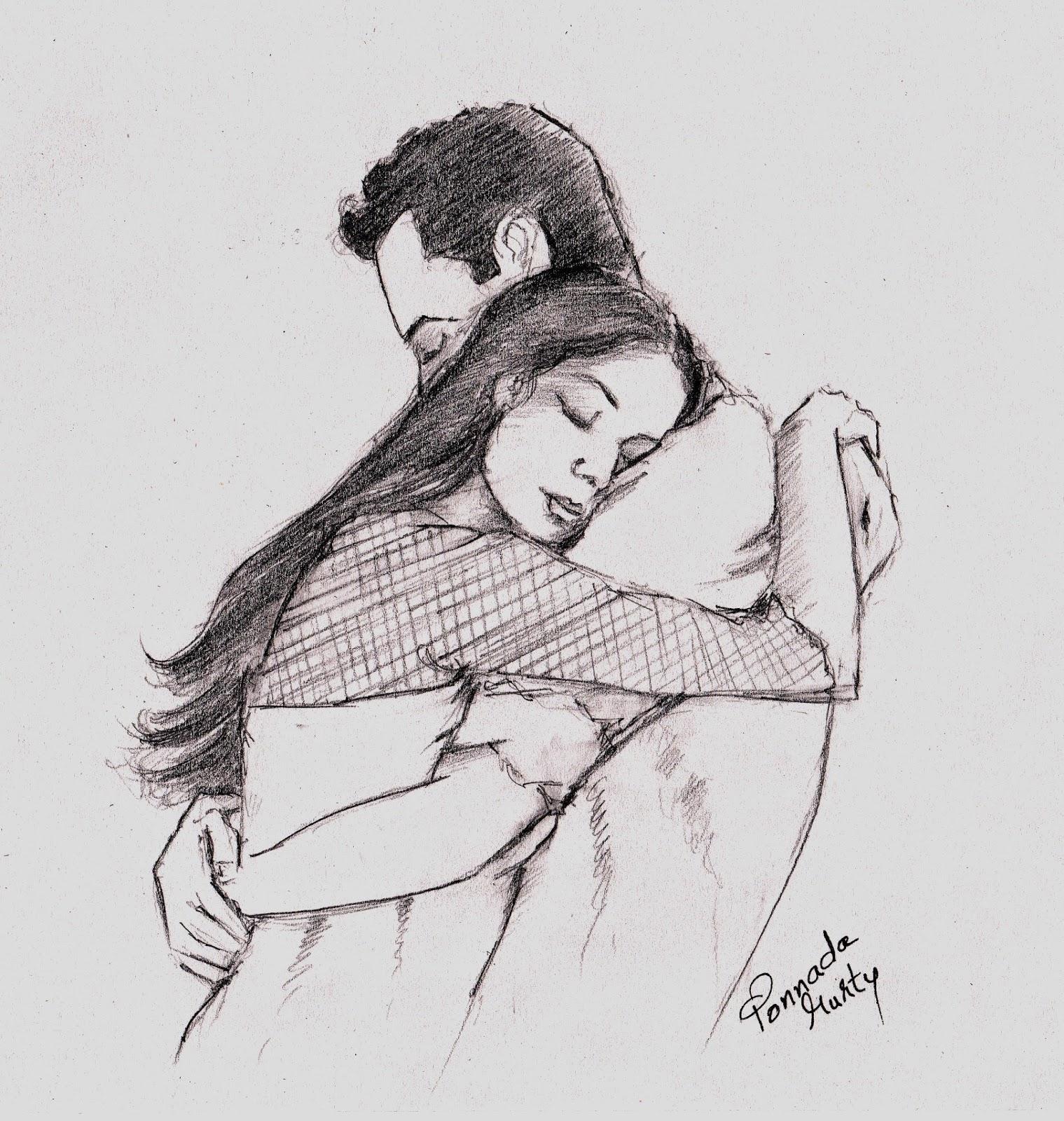 The hug my pencil sketch