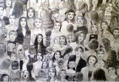 Desenho em preto e branco de uma aglomeração de aproximadamente 70 pessoas, de diversas etnias e idades, indo em diversas direções, preenchendo todo o espaço da tela.