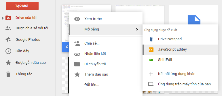 Xem và chỉnh sửa file HTML CSS trên Google Drive