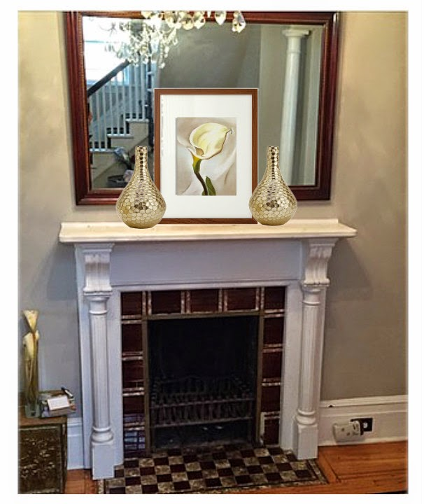 traditional mantle, mantle vignette, art, decorating a mantle