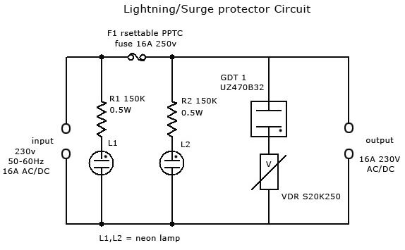 Lightning/Surge Protector Circuit Using Gas Discharge Tube (GDT) .