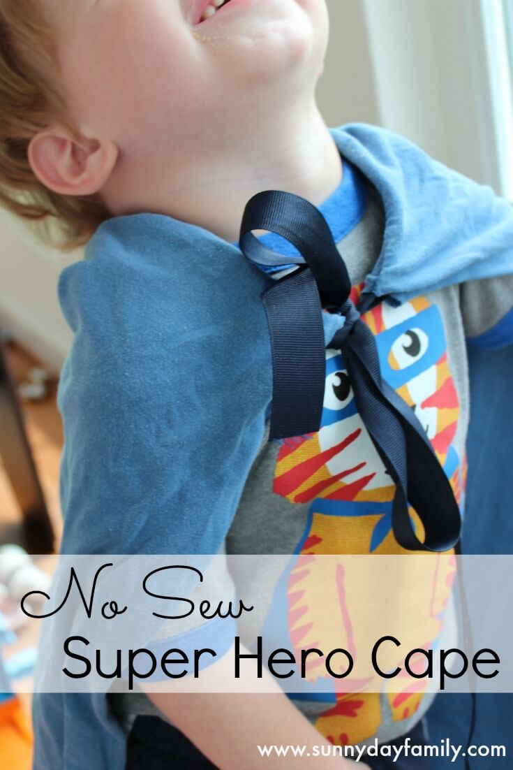Make a kid's super hero cape in 5 minutes without sewing! Perfect for pretend play or a cheap, easy, DIY Halloween costume.