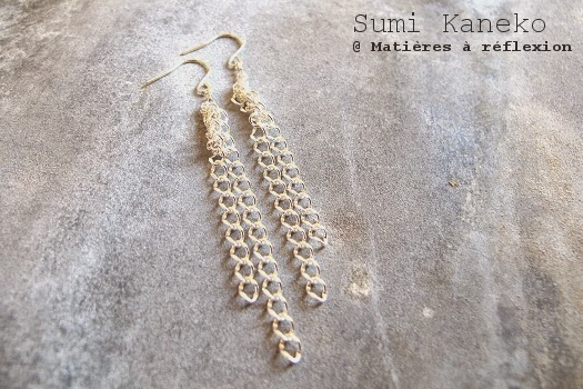 Boucles argent chaine gourmette Sumi Kaneko