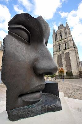 Per Adriano, Igor Mitoraj, France, Creation, Creator, Offbeat, Saint-Eloi Square,Angers, Europe, Face, Human, Mud, Sculpture,