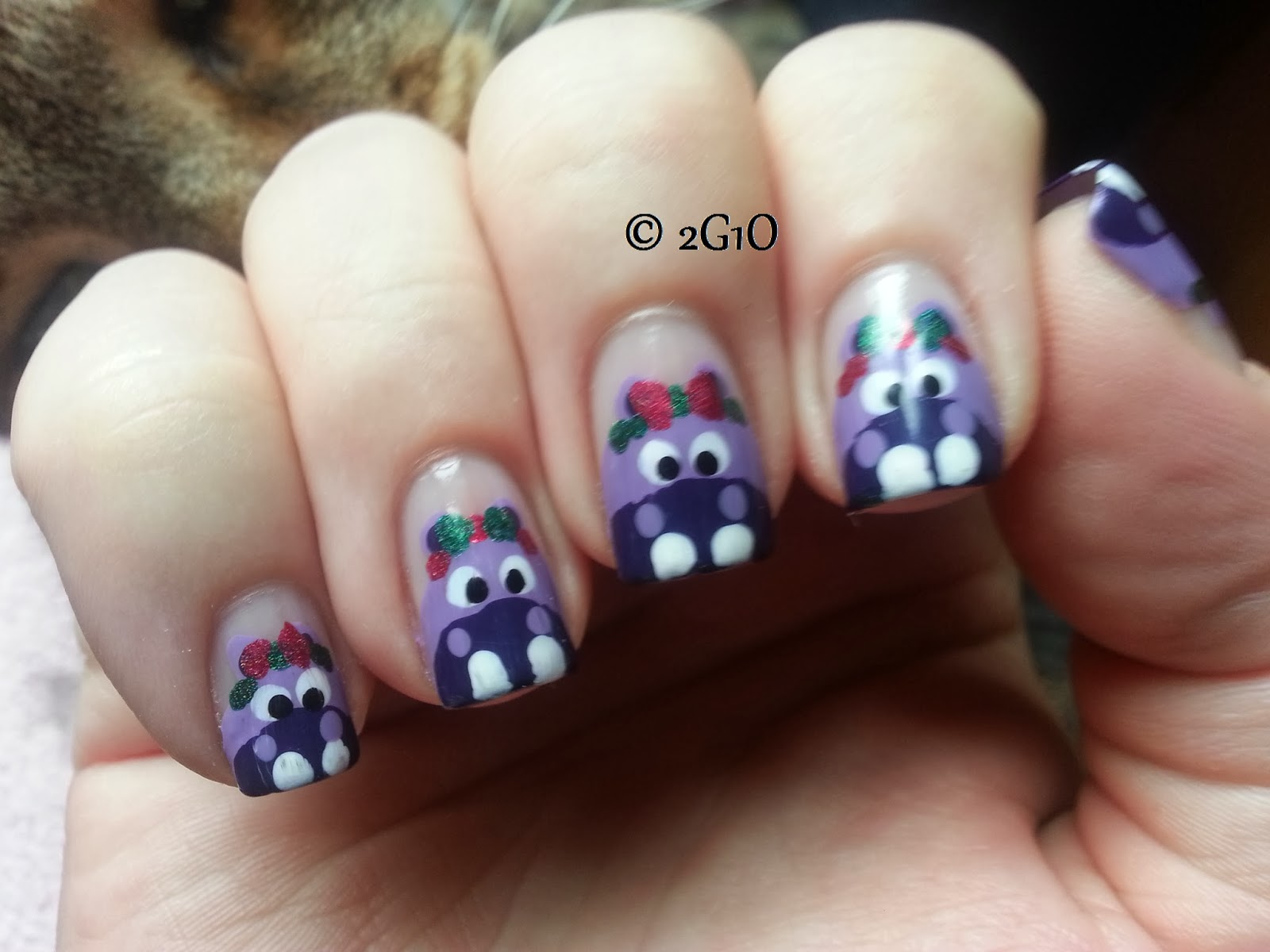 hippopotamus nail art christmas