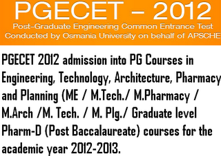 OU PGECET 2012 Counselling dates Web options