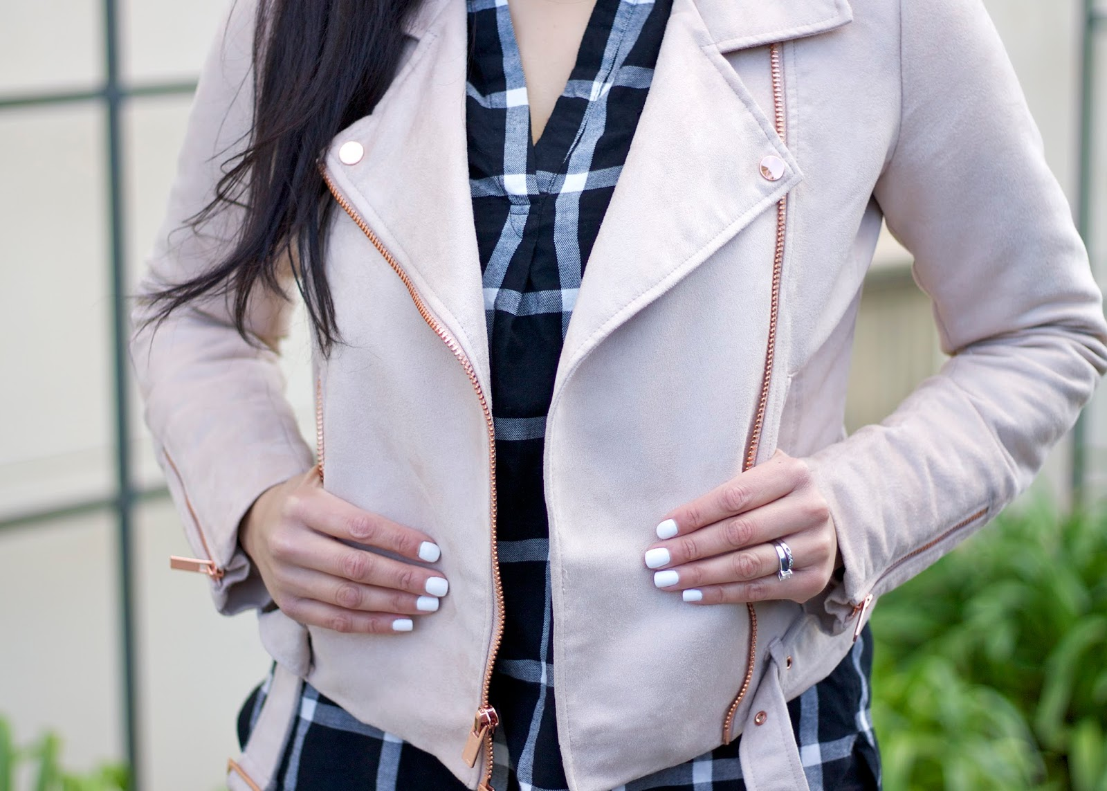white nails of the day, winter white nails, lc lauren conrad jacket, dusty rose jacket, old navy grid top