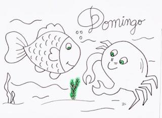 desenho de peixe e caranguejo para pintar