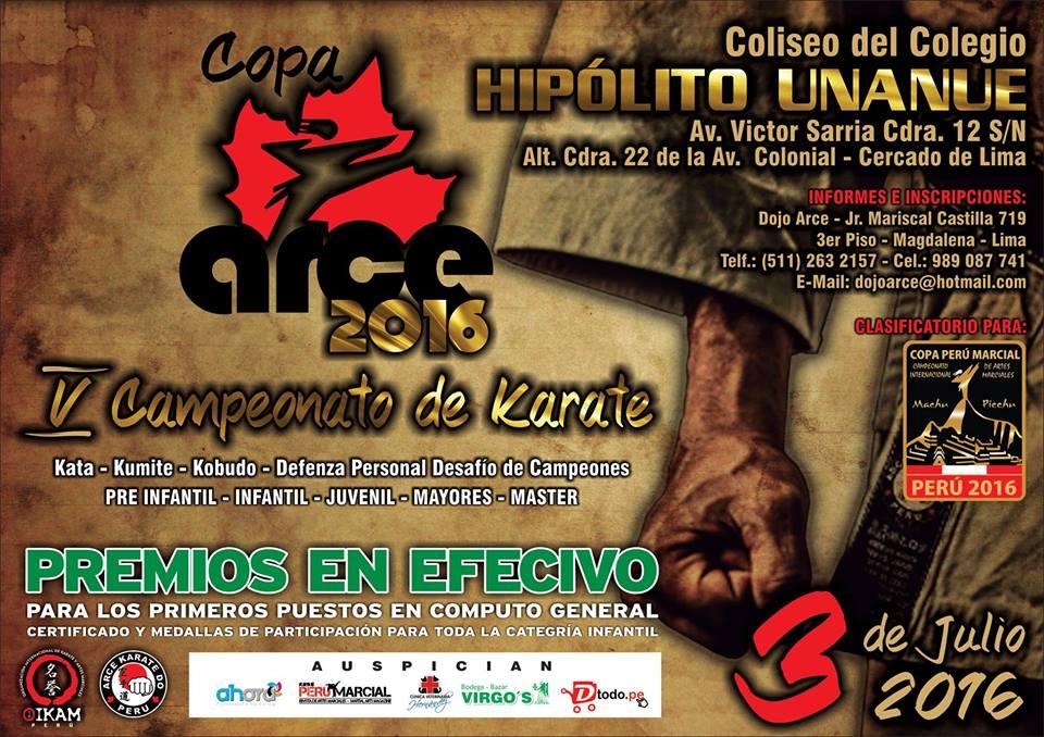 "V CAMPEONATO DE KARATE ""Copa Arce 2016"" Lima-Perù"
