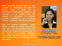 Automated Call Back Service Pilot at TMUC and TM100