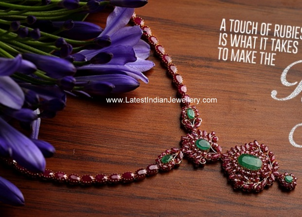 Gold Indian Ruby Necklace