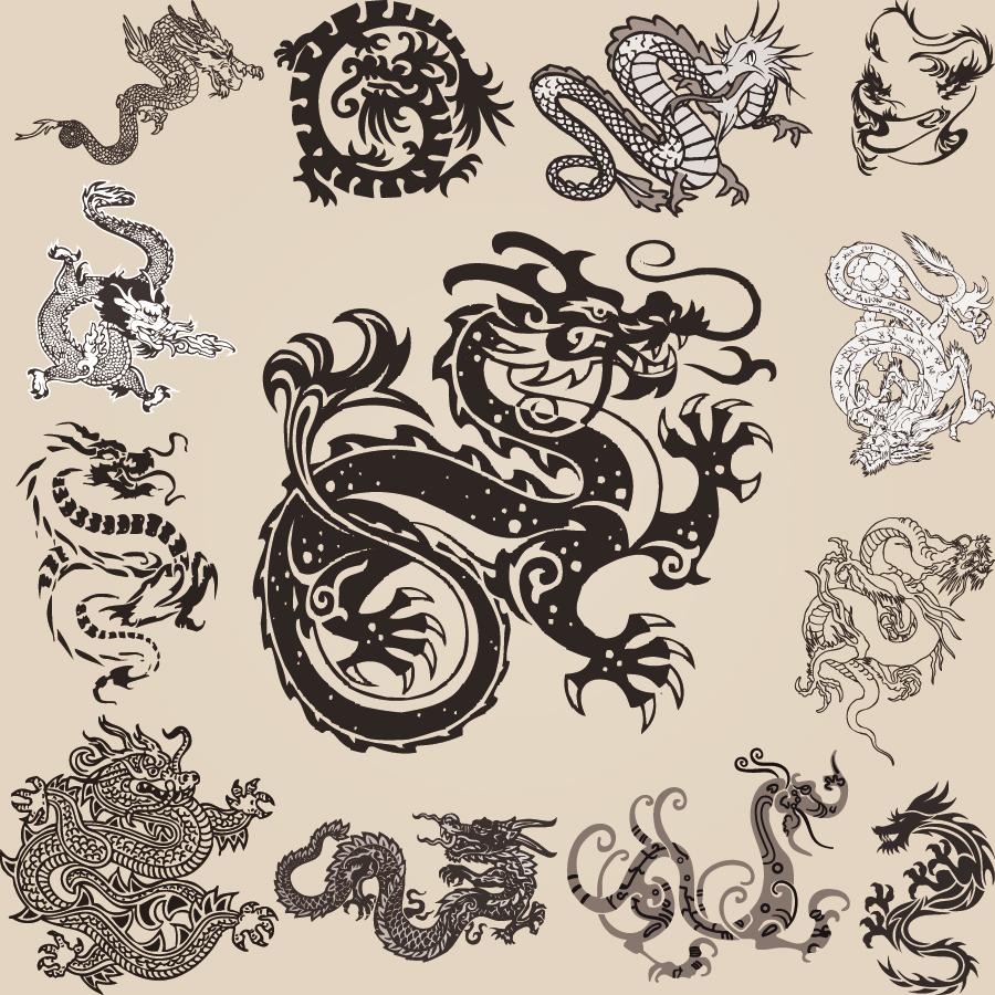 躍動感ある龍のクリップアート dragon element patterns イラスト素材