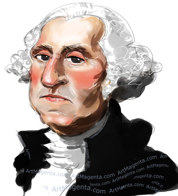George Washington caricature cartoon. Portrait drawing by caricaturist Artmagenta