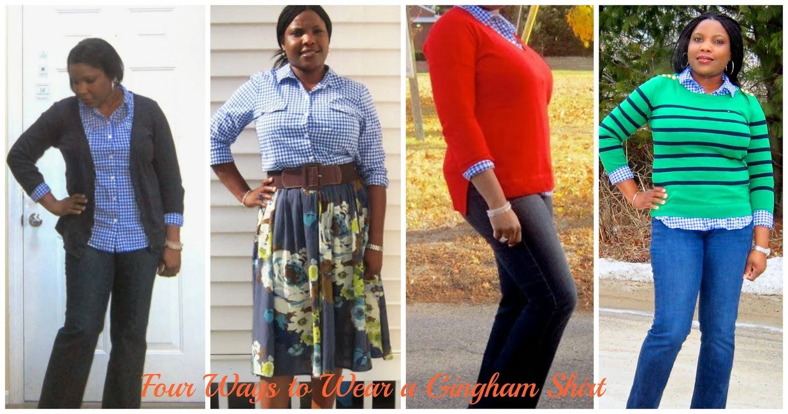 Four ways to wear gingham, Blue gingham, blue Plaid shirt