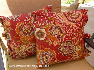 Outdoor Pillows made from tablecloth at One More Time Events.com