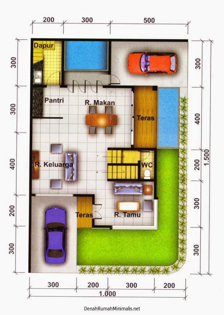 gambar denah rumah minimalis 1 lantai modern desain