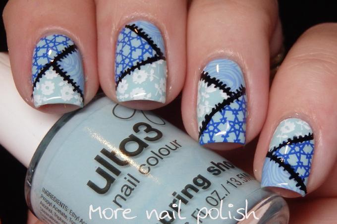 40 Great Nail Art Ideas - over a pale blue base ~ More Nail Polish