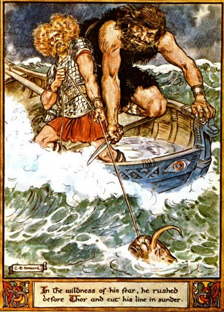 Thor and Hymir go fishing (1930) by Charles Brock