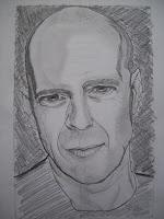 Foto di un mio ritratto di Bruce Willis ricavato da una sua foto