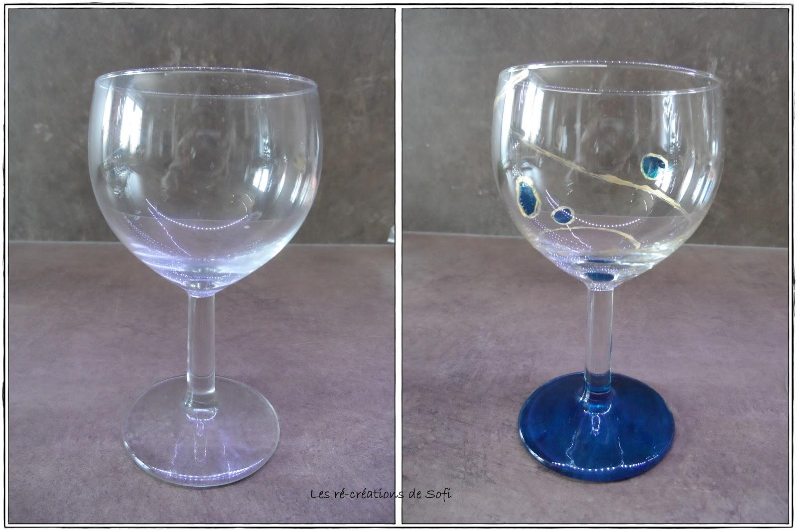 Les r cr ations de sofi peinture sur verre verres ballon for Peinture sur verre