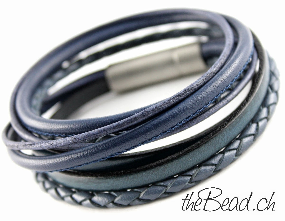 Herren Lederarmband in Blau swiss made by theBead Schmuck Onlineshop