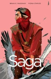 cover art for Saga volume two, featuring the man from the first cover holding a lowered sword. He is drenched in blood with a pair of mangled, feathered wings visible in the background