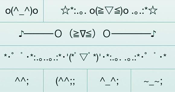 Emoticon Jepang (SERI 10) Emoji Berkedip Sebelah Mata, Kuatir, Menulis, dan Tawa tidak Jelas