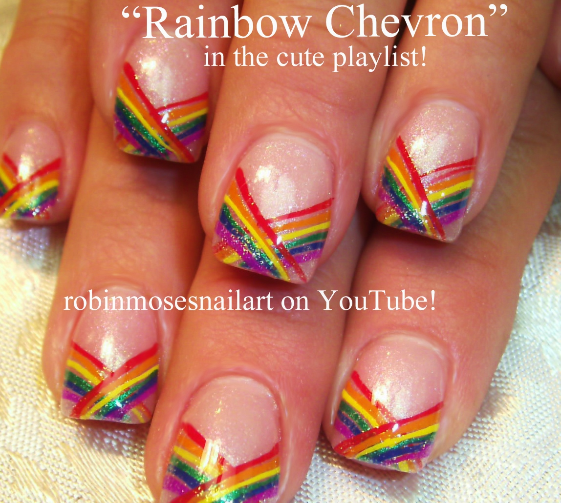 Rainbow Nails Pride Stripe Vines Vine Black Tip Nail Art French Manicure