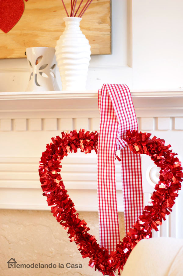 tinsel wrapped red heart from dollar tree store