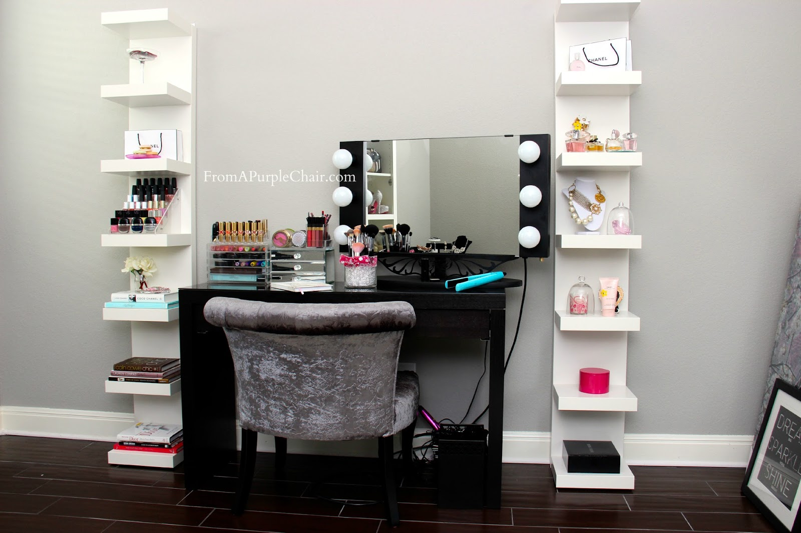 miss liz heart makeup room beauty room set up before