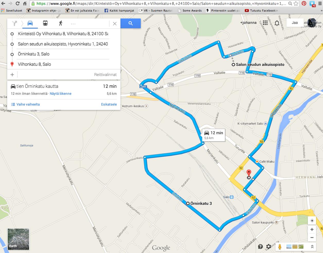 Google maps reittihaku