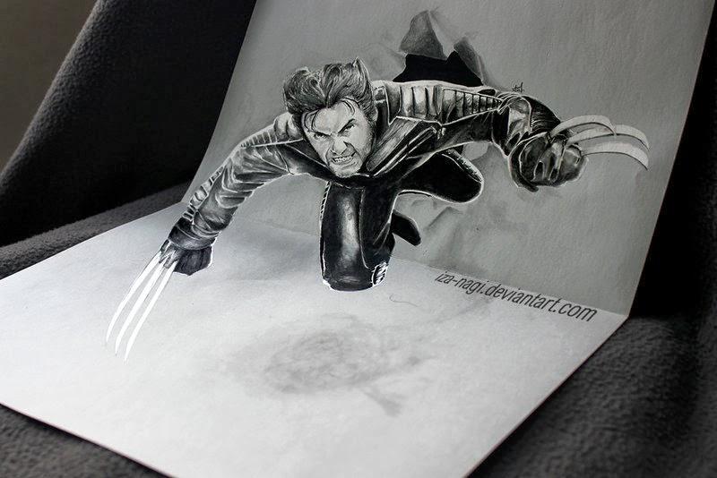 01-Wolverine-Izanagi-Aadi-aka-Iza-nagi-3D Pencil Drawings-www-designstack-co