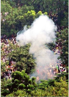 A plume of smoke after blast near Gandhi Maidan in Patna
